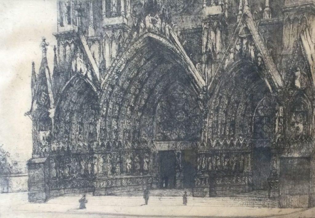 Kunst te koop bij Galerie Wijdemeren van kunstschilder Willem van Leusden Gotische kerk ets,48.5 x 68.5 cm rechtsonder handgesigneerd
