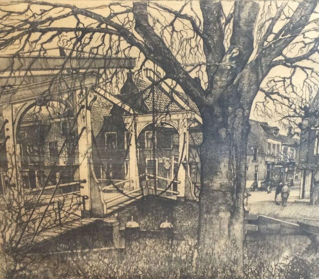 Kunst te koop bij Galerie Wijdemeren van kunstschilder Willem van Leusden Uitzicht op brug ets,44.5 x 50.5 cm rechtsonder gesigneerd