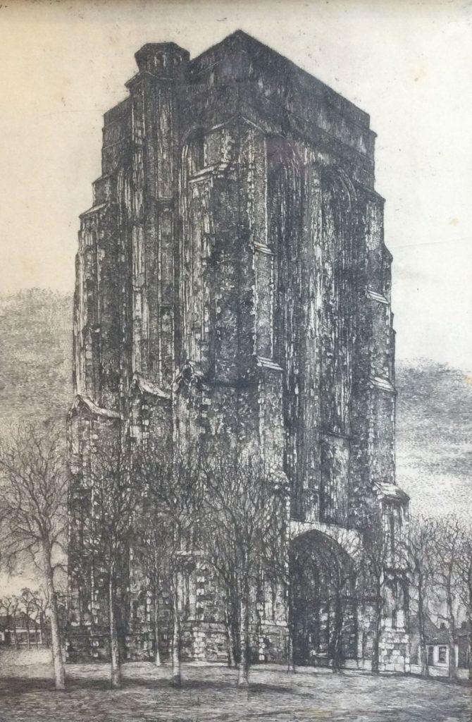 Kunst te koop bij Galerie Wijdemeren van kunstschilder Willem van Leusden Zicht op een kerk ets, 56 x 38 cm linksboven gesigneerd