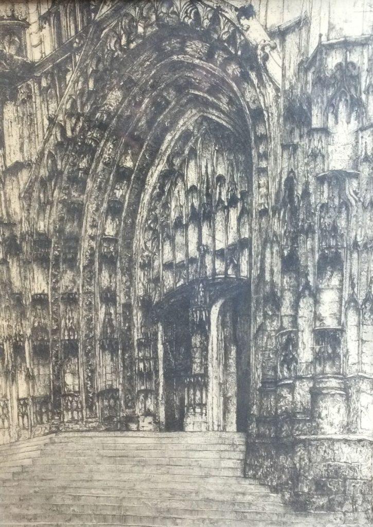Kunst te koop bij Galerie Wijdemeren van kunstschilder Willem van Leusden Zicht op gotische kerk ets, 48.5 x 36.5 cm rechtsboven gesigneerd en gedateerd 1914