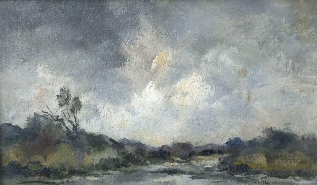 Kunst te koop bij Galerie Wijdemeren van kunstschilder Antoon Markus Rivier, 1927 olie op doek, 25 x 40.5 cm rechtsonder gesigneerd en gedateerd