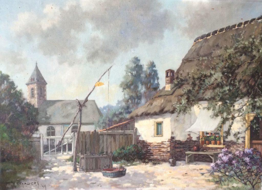 Kunst te koop bij Galerie Wijdemeren van kunstschilder A. Reynders Boerderij olie op doek, 50 x 70 cm linksonder gesigneerd, gedateerd 49