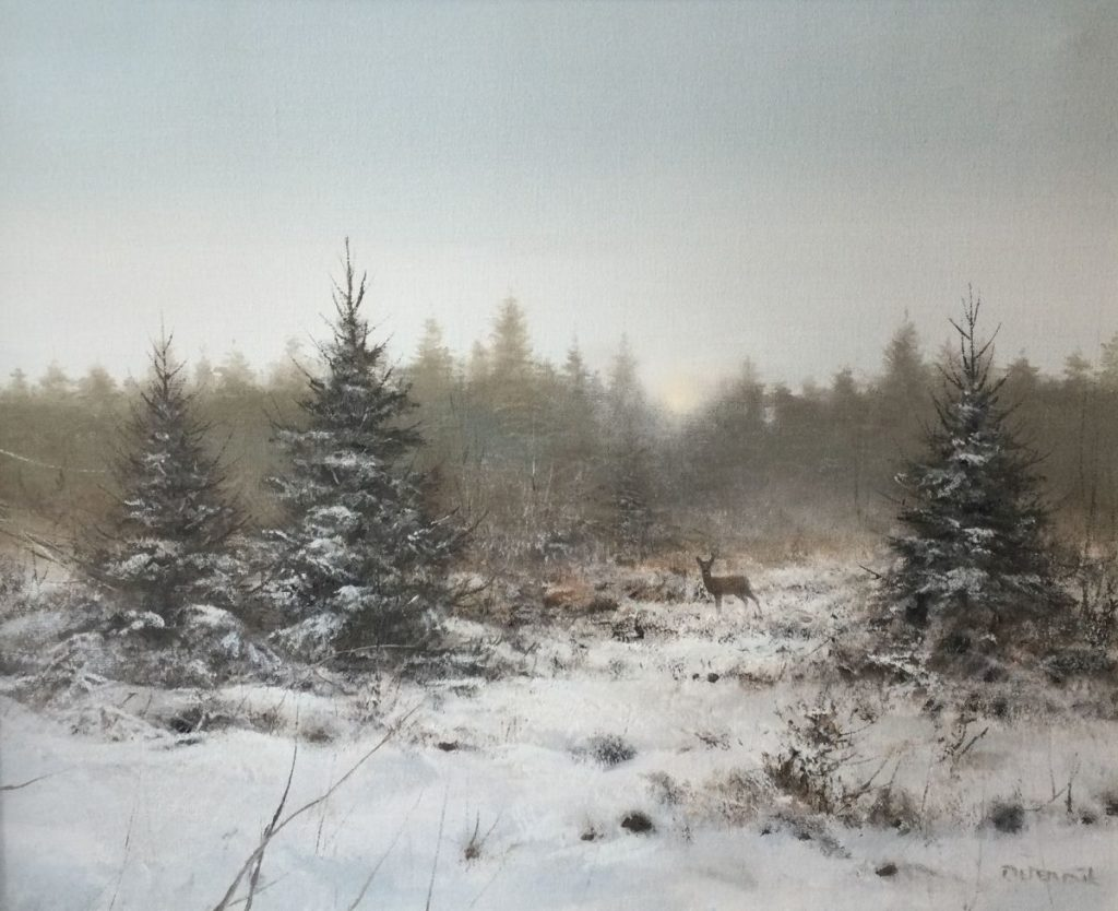 Kunst te koop bij Galerie Wijdemeren van kunstschilder Pieter Dik Ree in besneeuwd landschap olie op doek, 80.5 x 100.5 cm rechtsonder gesigneerd