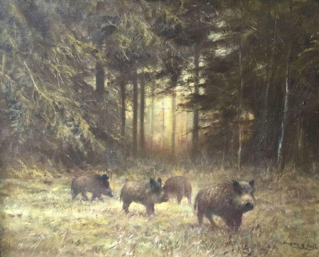 Kunst te koop bij galerie Wijdemeren van kunstschilder Pieter Dik Wilde Zwijnen olie op doek, 80.5 x 100.5 cm rechtsonder gesigneerd