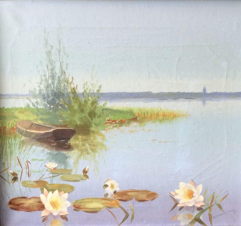 Kunst te koop bij Galerie Wijdemeren van kunstschilder Dirk Smorenberg Waterlelies olie op doek, 45.5 x 50.5 cm rechtsonder gesigneerd in handgestoken Smorenberg lijst