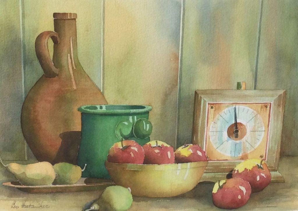 Kunst te koop bij Galerie Wijdemeren van kunstschilder Leo Hartzuiker Stilleven met appels en klokje aquarel, 29 x 38 cm linksonder gesigneerd