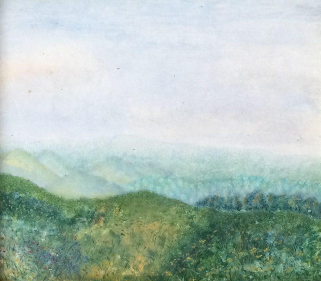 Kunst te koop bij Galerie Wijdemeren, Berglandschap olie op paneel