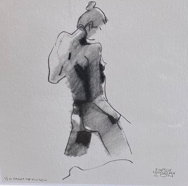 Kunst te koop bij Galerie Wijdemeren van kunstschilder Pieter Hogenbirk Naakt op knieën giclee, oplage 1/50, beeldmaat 26 x 26 cm drukgesigneerd rechtsonder en gedateerd 2014