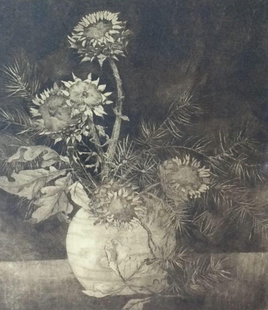 Kunst te koop bij Galerie Wijdemeren,Bloemstilleven ets, 57.5 x 47 cm rechtsonder handgesigneerd