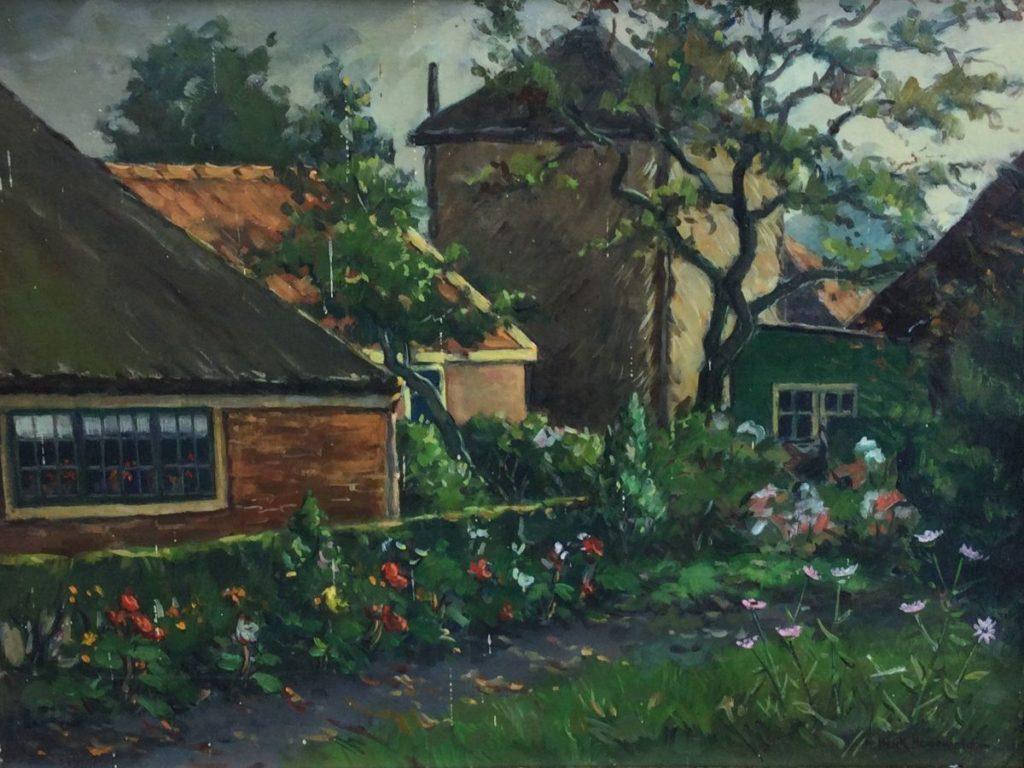 Kunst te koop bij Galerie Wijdemeren van kunstschilder Henk Hanewald Zicht op boerderij met hooiberg olie op doek,30.5 x 40.5 cm rechtsonder gesigneerd