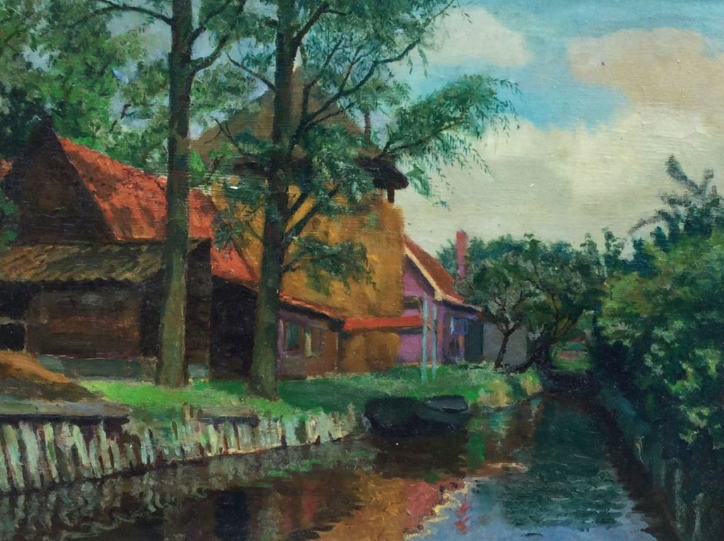 Kunst te koop bij Galerie Wijdemeren van kunstschilder van Waven Boerderijen langs de vaart