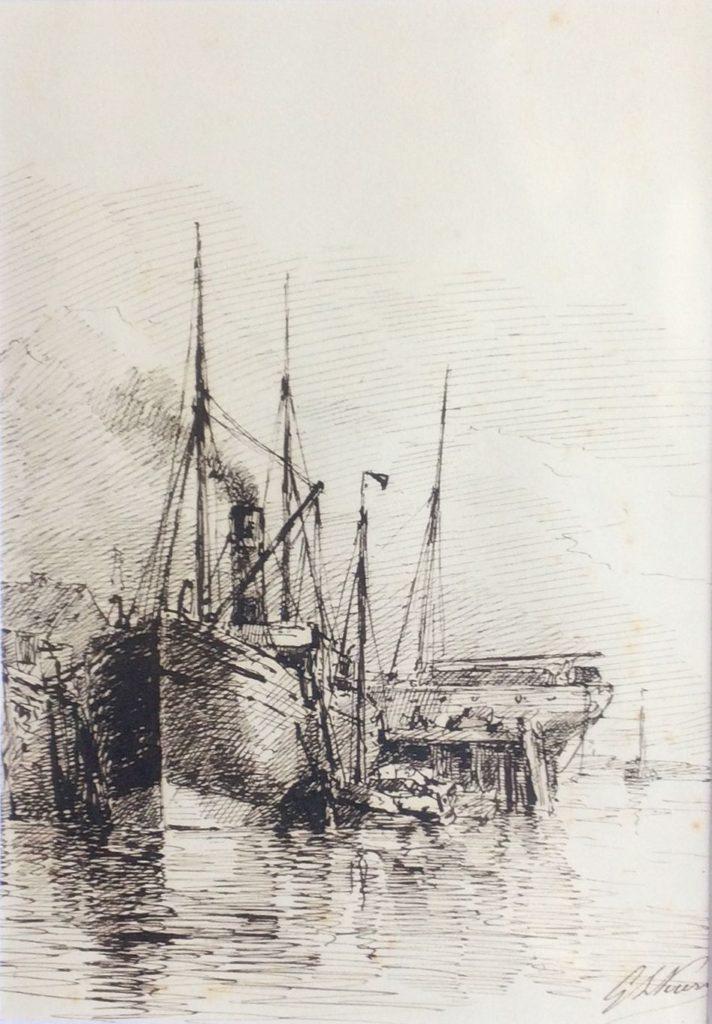 Kunst te koop bij Galerie Wijdemeren, Havengezicht pen op papier, 17 x 12 cm rechtsonder gesigneerd