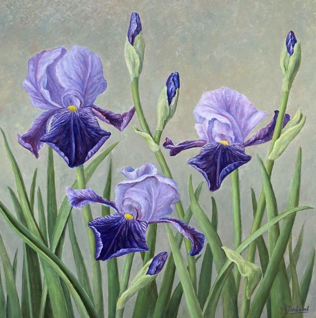 Kunst te koop bij Galerie Wijdemeren van kunstschilder Annelies Jonkhart Irissen olie op board, 40 x 40 cm rechtsonder gesigneerd
