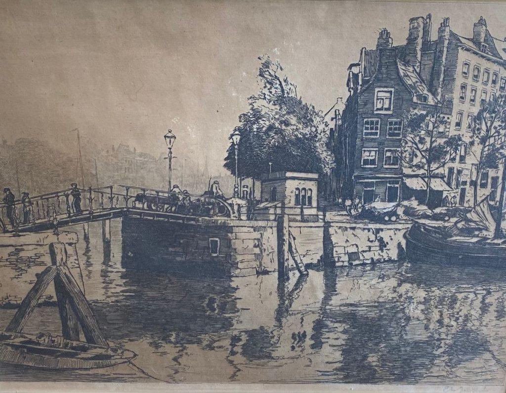 Kunst te koop bij Galerie Wijdemeren van kunstschilder Jan Sirks Rotterdam voor 10-05-1940 ets, beeldmaat 32 x 45 cm rechtsonder gesigneerd