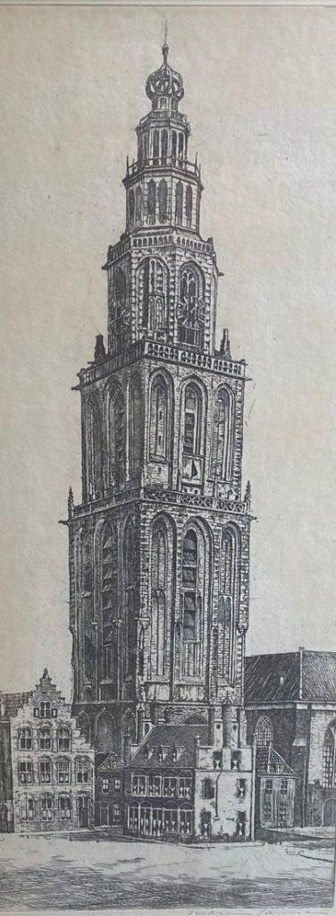 Kunst te koop bij Galerie Wijdemeren van kunstschilder Marius Janssen Martinitoren te Groningen ets, beeldmaat 40.5 x 17 cm rechtsonder handgesigneerd
