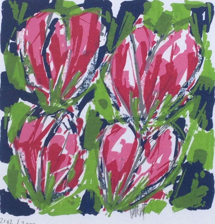 Kunst te koop bij Galerie Wijdemeren van graficus Ad van Hassel Roze tulpen litho, 22.5 x 22.5 cm middenonder handgesigneerd, oplage 2192/3000