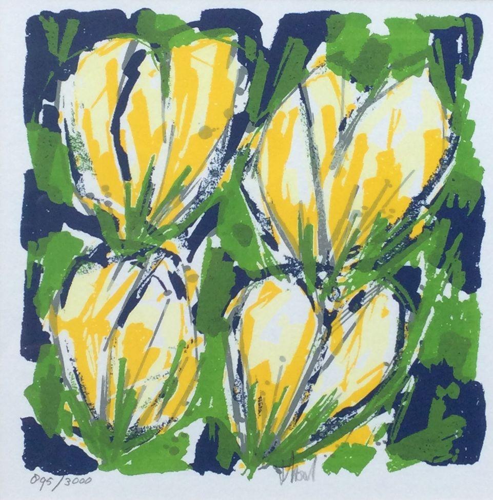 Kunst te koop bij Galerie Wijdemeren van kunstenaar graficus Ad van Hassel Gele tulpen litho, 22.5 x 22.5 cm middenonder handgesigneerd, oplage 895/3000