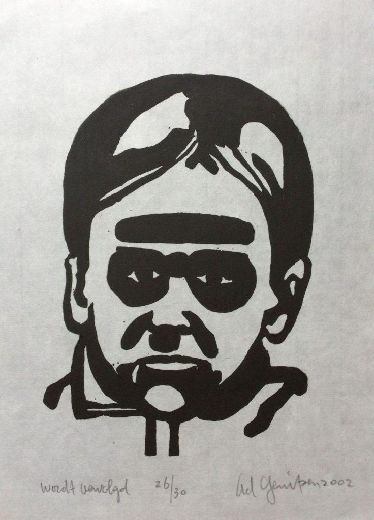 Kunst te koop bij Galerie Wijdemeren van graficus Ad Gerritsen Wordt Vervolgd linosnede op japans papier, 30 x 22 cm rechtsonder gesigneerd en gedateerd 2002, oplage 26/30