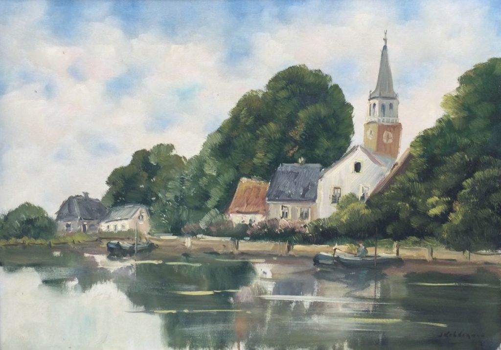 Kunst te koop bij Galerie Wijdemeren van kunstschilder Jan Kelderman Broek en Waterland olie op doek, 50 x 70 cm rechtsonder gesigneerd