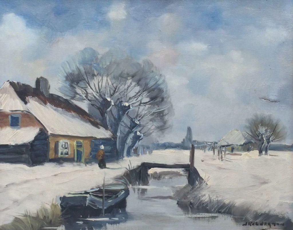 Kunst te koop bij Galerie Wijdemeren van kunstschilder Jan Kelderman Winter op de boerderij olie op doek, 40 x 50 cm rechtsonder gesigneerd