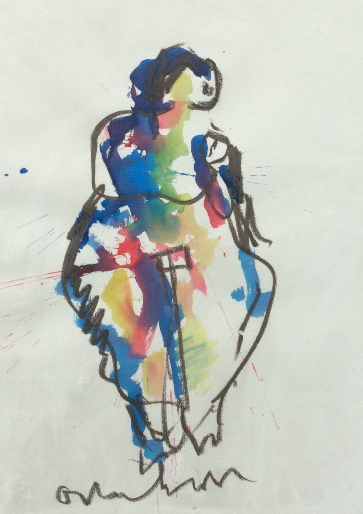 Kunst te koop bij Galerie Wijdemeren, Anton Heyboer, Vrouwfiguur gemengde techniek op papier, 70 x 50.5 cm middenonder gesigneerd