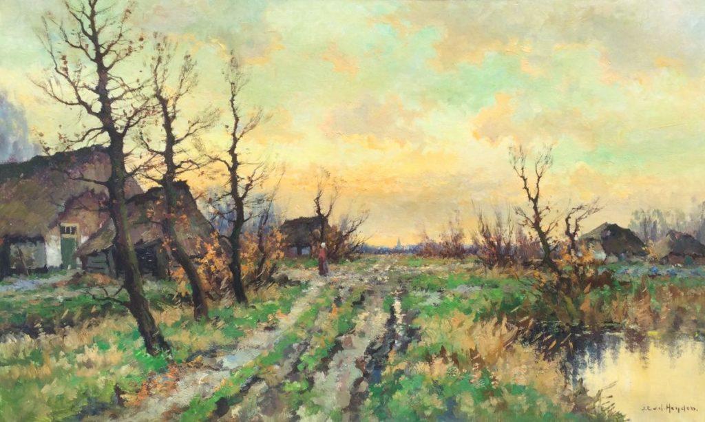 schilderijen te koop, van kunstschilder JC van der Heijden Boerderijen langs pad olie op doek, doekmaat 60 x 100 cm gesigneerd, expositie, galerie Wijdemeren Breukeleveen