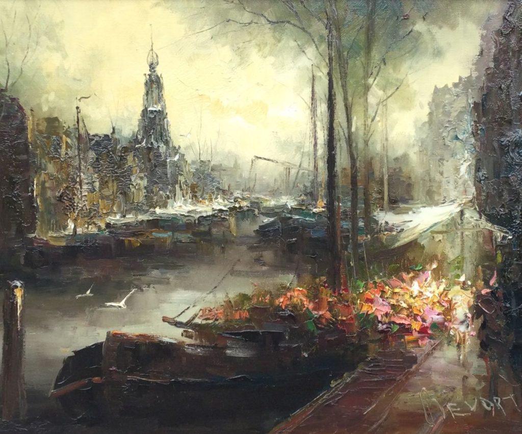 Kunst te koop bij Galerie Wijdemeren van kunstschilder John Bevort Boemenmarkt te Amsterdam olie op doek, 50 x 60 cm rechtsonder gesigneerd