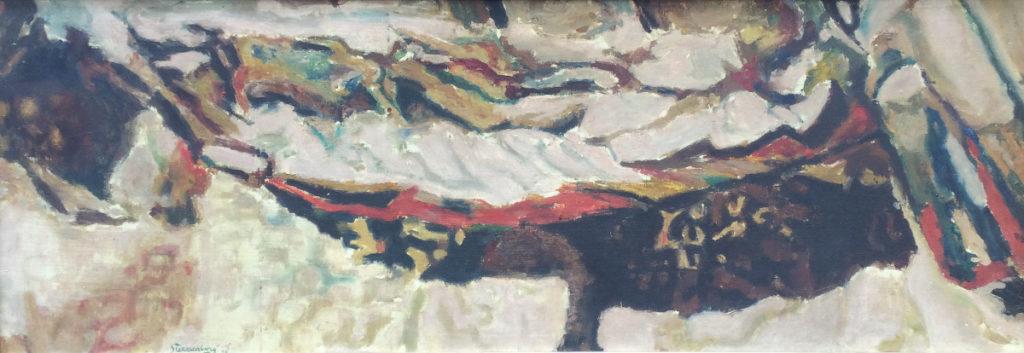 Kunst te koop bij Galerie Wijdemeren van kunstschilder  Jan Stekelenburg Nature Morte Sur Plage olie op doek, 43.5 x 122.5 cm gesigneerd linksonder, gedateerd 55