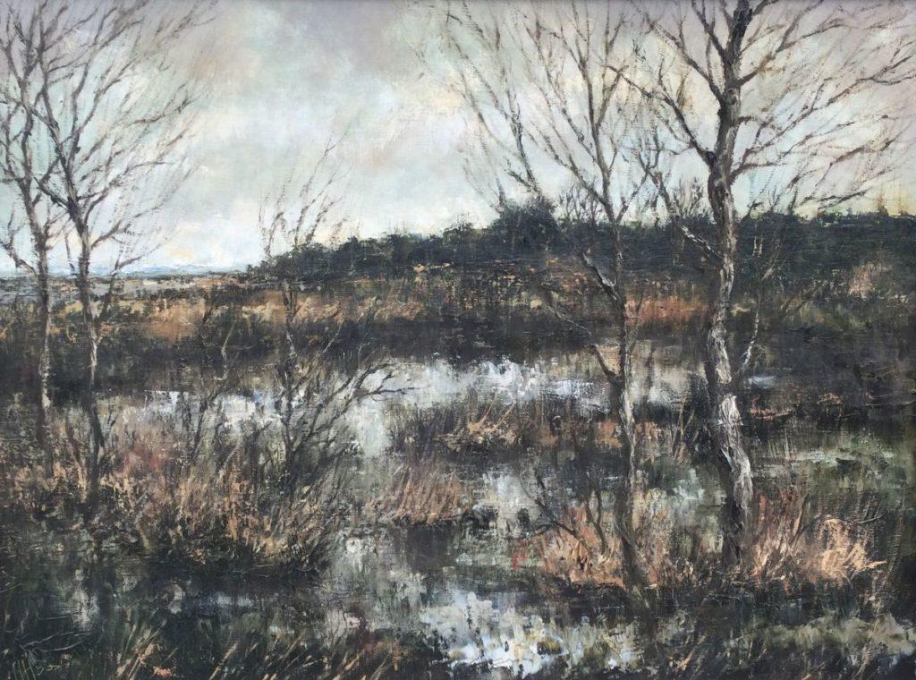 Kunst te koop bij Galerie Wijdemeren van kunstschilder Henri Hess Brabant, Polderlandschap nabij Eindhoven olie op doek, 60 x 80 cm linksonder gesigneerd