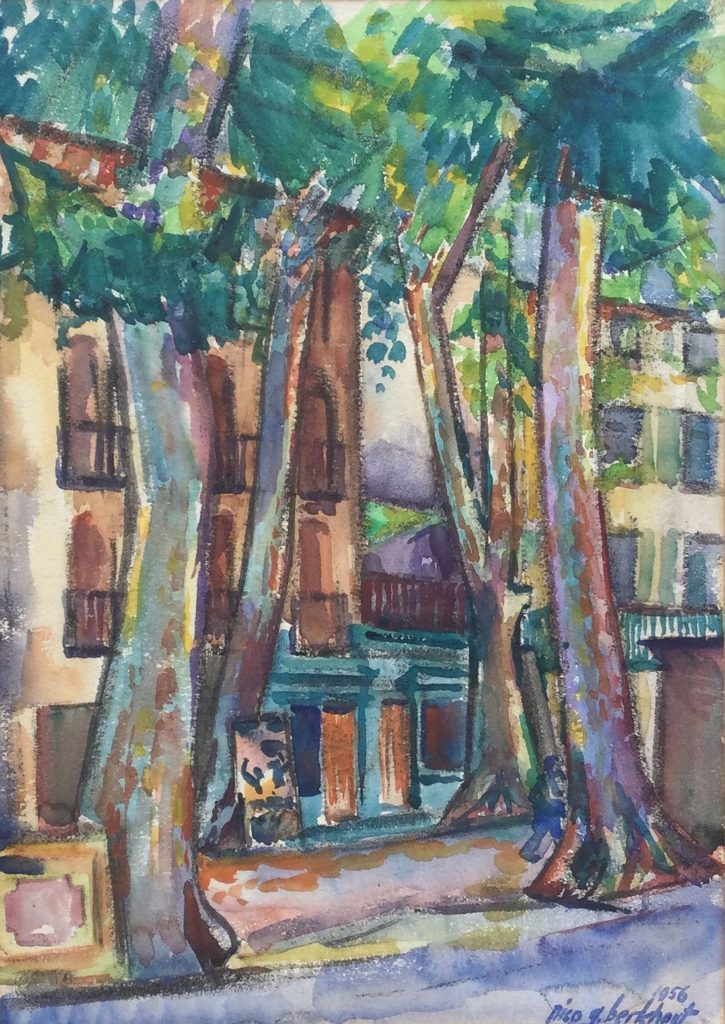 Schilderijen te koop, kunstschilder, Nico G. Berkhout Céret, Pyrénées aquarel, beeldmaat 51 x 36 cm rechtsonder gesigneerd en gedateerd 1956 verso voorzien van informatie, expositie, Galerie Wijdemeren Breukeleveen