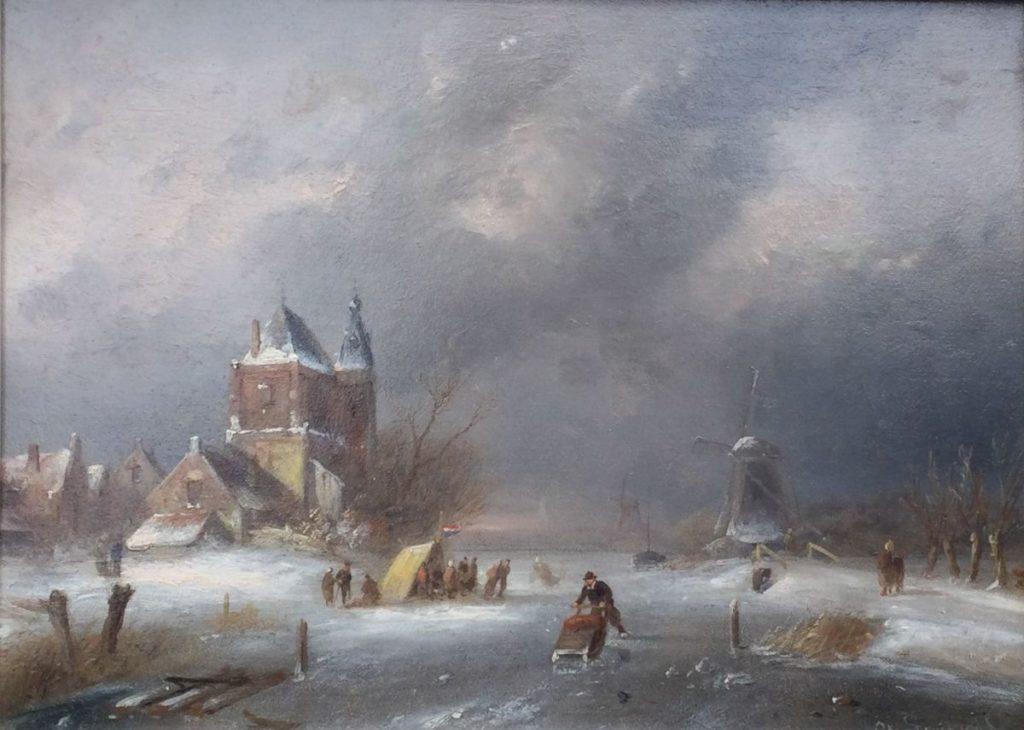 Kunst te koop bij Galerie Wijdemeren van kunstschilder Charles Leickert Wintergezicht olie op paneel, 24 x 32 cm rechtsonder gesigneerd