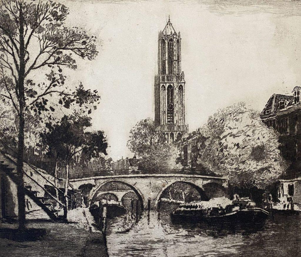 Kunst te koop bij Galerie Wijdemeren van kunstenaar Jan Sirks Oude Gracht Utrecht ets, 27 x 31.5 cm rechtsonder handgesigneerd, oplage 15/125
