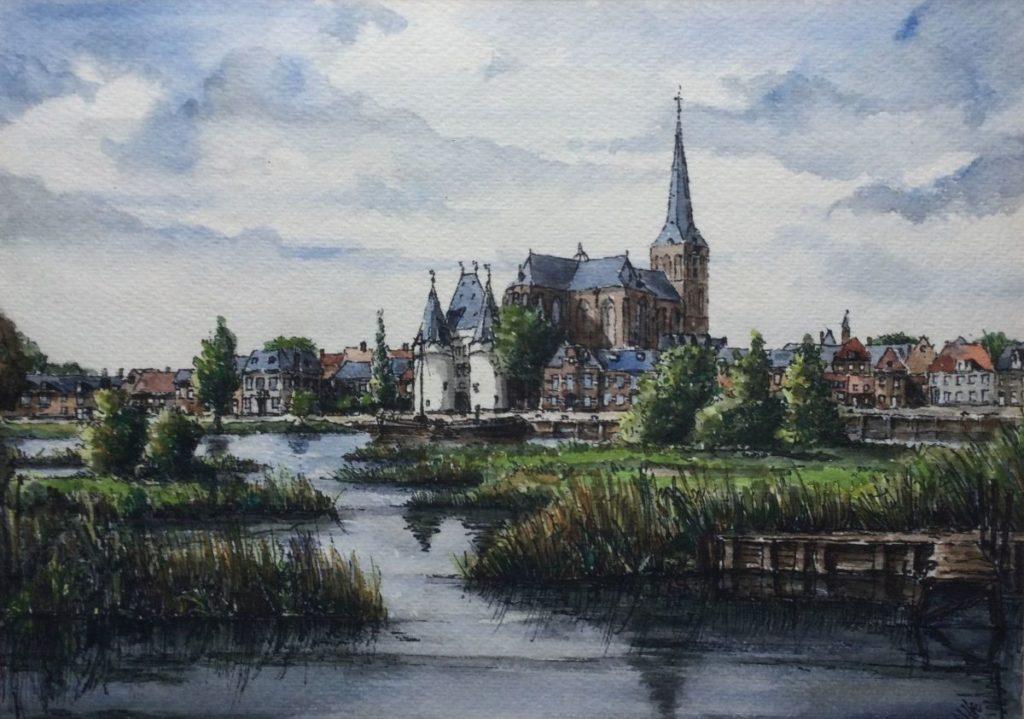 Kunst te koop bij Galerie Wijdemeren, Dorpsgezicht, aquarel, 21.5 x 30 cm, rechtsonder H.K.