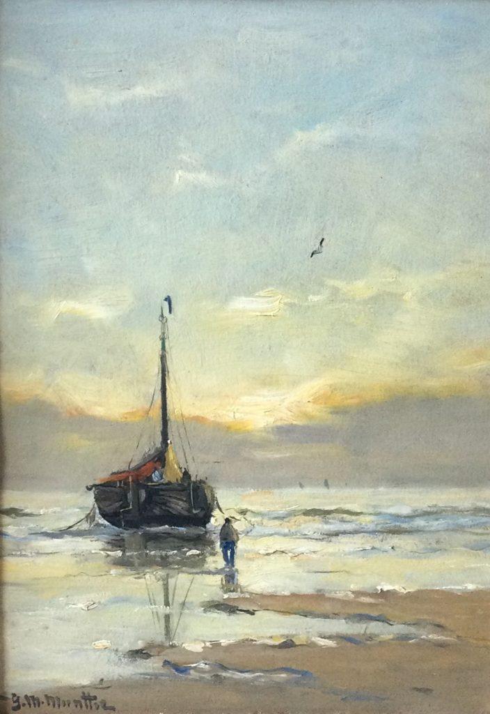 Kunst te koop bij Galerie Wijdemeren van kunstschilder G.M. Munthe Bomschuit olie op paneel, 34.5 x 24 cm linksonder gesigneerd