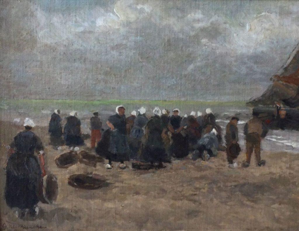 Kunst te koop bij Galerie Wijdemeren van kunstschilder G.M. Munthe Vissersvrouwen marouflé, beeldmaat 33 x 24 cm linksonder gesigneerd