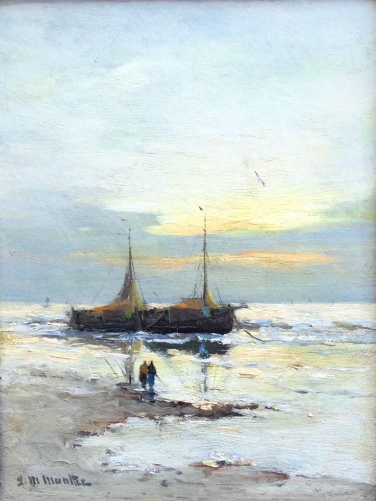 Kunst te koop bij Galerie Wijdemeren van kunstschilder G.M. Munthe Bomschuit olie op paneel, 19.5 x 14.5 cm linksonder gesigneerd