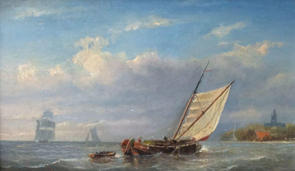 Kunst te koop bij Galerie Wijdemeren van kunstschilder Johannes Huygens Schepen met zicht op Katwijk olie op paneel, 16.5 x 28 cm linksonder gesigneerd