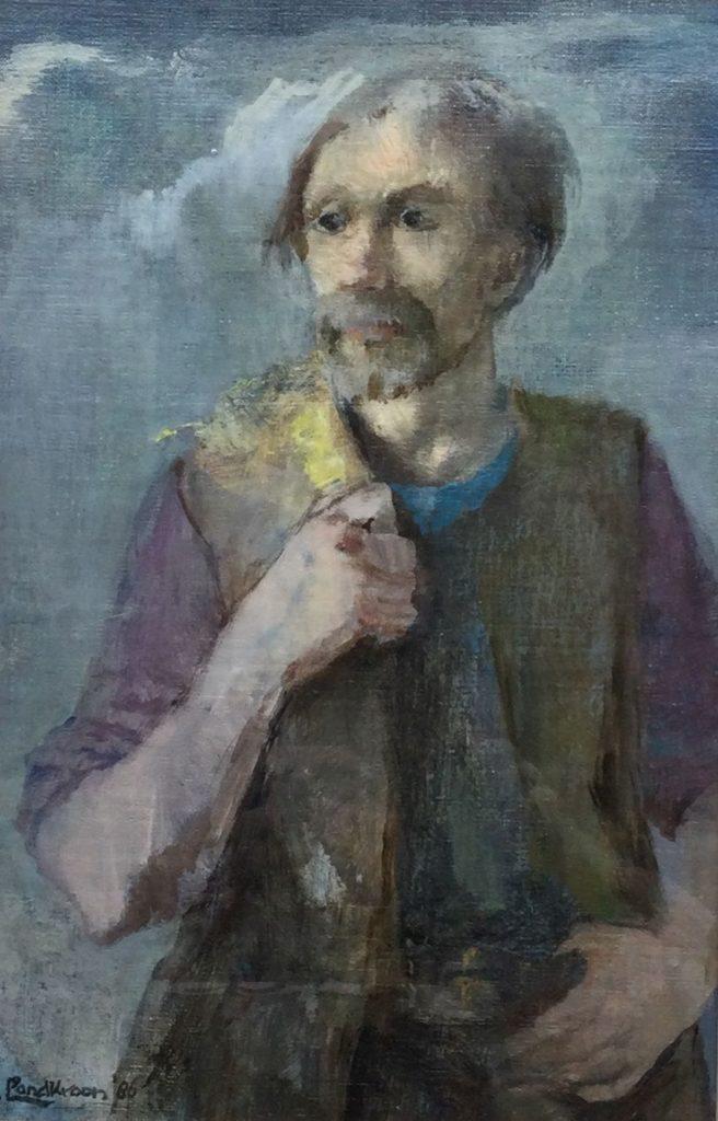 Kunst te koop bij Galerie Wijdemeren van kunstschilder Piet Landkroon Portret marouflé, 33.5 x 21 cm linksonder gesigneerd, gedateerd 86