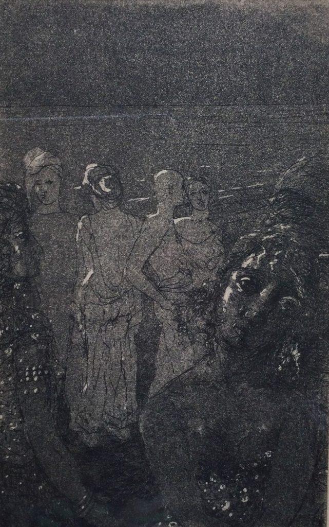 Kunst te koop bij galerie Wijdemeren van kunstenaar Wijnand Wansink Strand ets, 17.5 x 11.5 cm rechtsonder gesigneerd en gedateerd 62