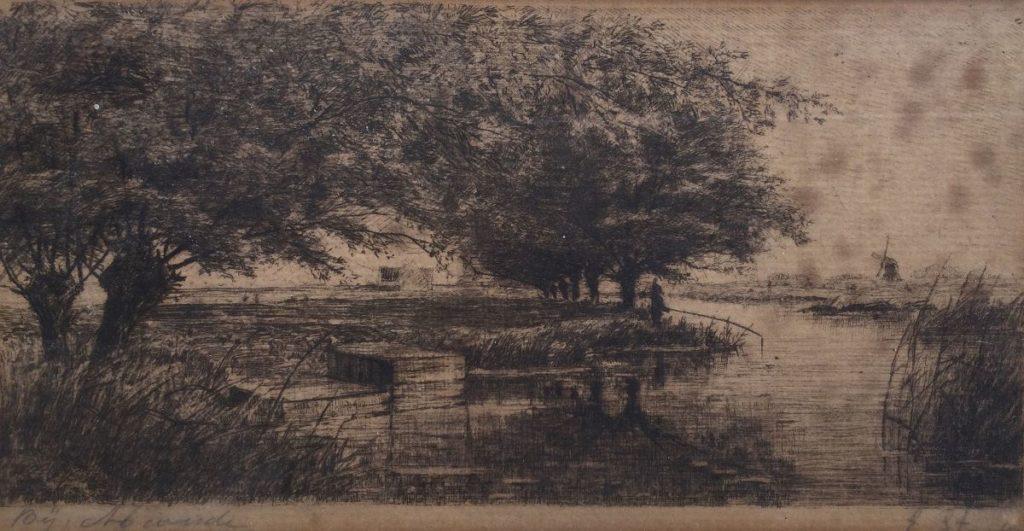Kunst te koop bij galerie Wijdemeren van kunstschilder E. Stark Bij Abcoude ets, beeldmaat 9 x 18 cm rechtsonder handgesigneerd
