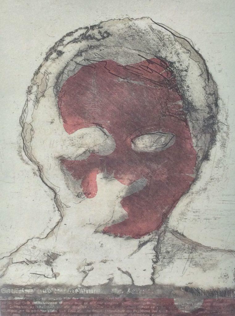 Kunst te koop bij galerie Wijdemeren van graficus René van Kempen Bad Guy ets/gemengde druktechnieken, 29 x 21 cm rechtsonder handgesigneerd, linksonder oplage 23/100, gedateerd 95
