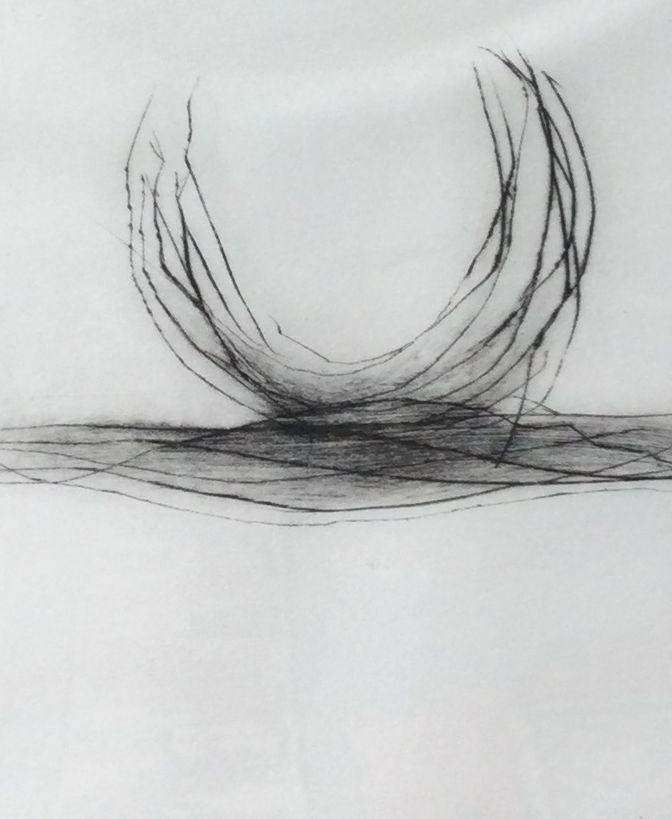 Kunst te koop bij galerie Wijdemeren, Voorstelling met halve cirkel ets, 33 x 25 cm handgesigneerd, oplage 23/100, gedateerd 93