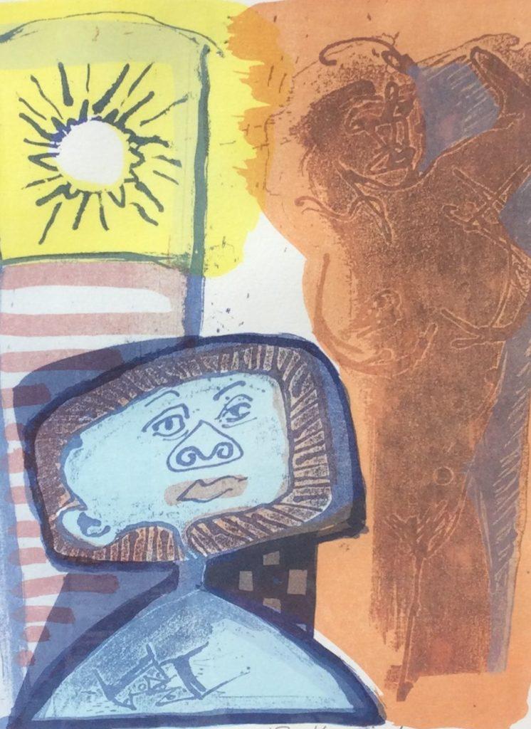 Kunst te koop bij Galerie Wijdemeren van Frank Hulscher Blue Valentine zeefdruk, 25 x 32 cm linksonder handgesigneerd en gedateerd 93, oplage 92/100