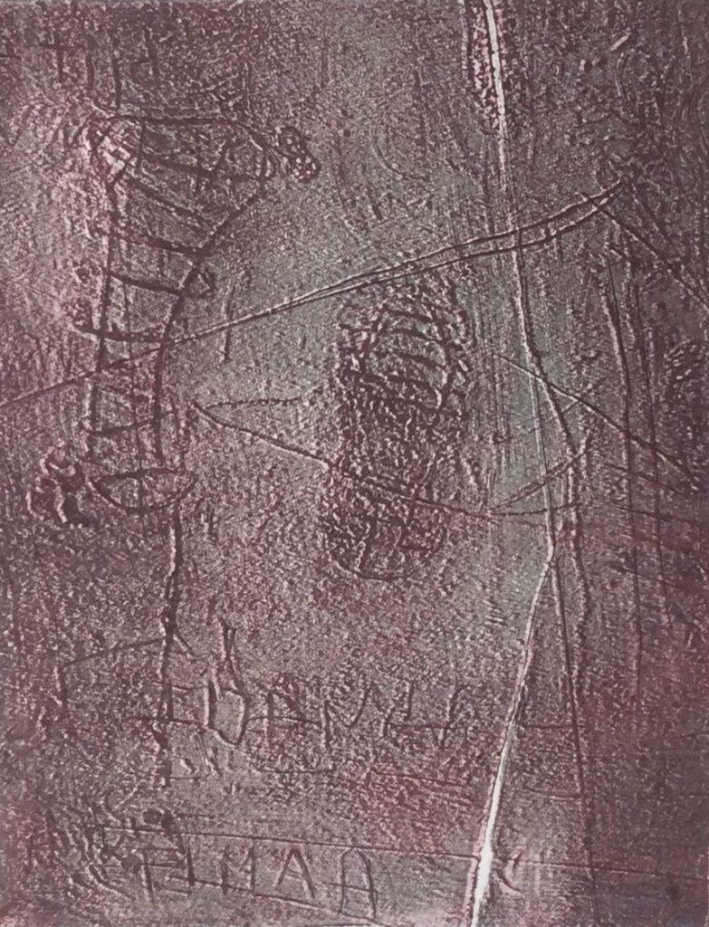 Kunst te koop bij Galerie Wijdemeren van Ursula Neubauer Sporen litho, 33 x 25 cm rechtsonder gesigneerd en gedateerd 94, linksonder oplage 17/100
