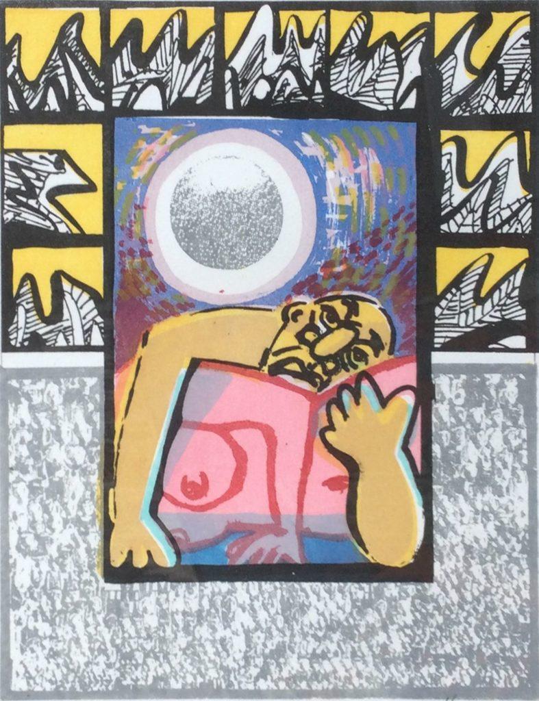 Kunst te koop bij galerie Wijdemeren van Frank Hulscher Moonlight Serenade zeefdruk, 33 x 25 cm rechtsonder gesigneerd en gedateerd 95, linksonder oplage 23/100