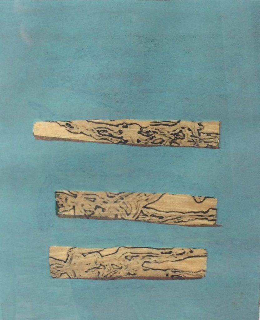 Kunst te koop bij Galerie Wijdemeren van kunstenaar Hans Bertrand Abstracte voorstelling met drie rechthoeken zeefdruk, 33 x 25 cm oplage 92/100, rechtsonder handgesigneerd en gedateerd 93