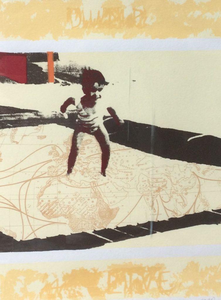 Kunst te koop bij Galerie Wijdemeren, Jacqueline van Rosmalen Jump for life zeefdruk, 33 x 25 cm rechtsonder handgesigneerd en gedateerd 95, linksonder oplage 23/100