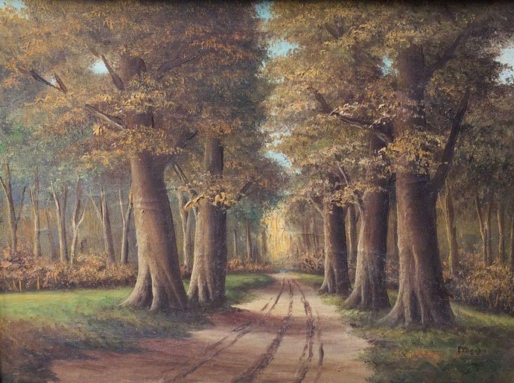 Kunst te koop bij Galerie Wijdemeren, Bosgezicht olie op doek, 30 x 40 cm rechtsonder gesigneerd