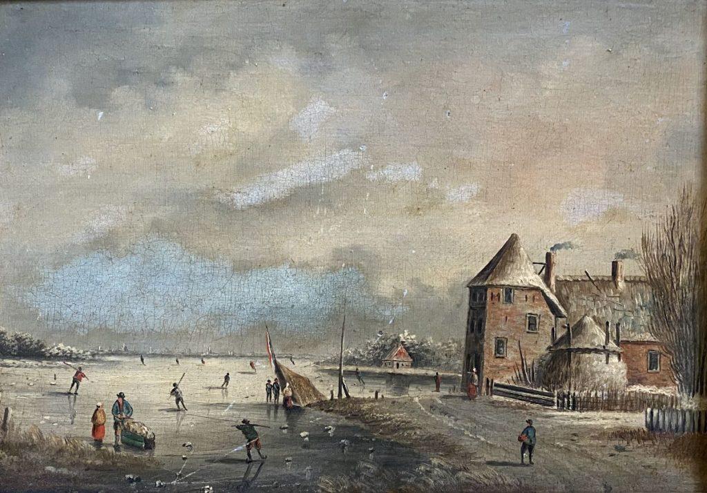 Kunst te koop bij Galerie Wijdemeren, Wintergezicht olie op paneel, paneelmaat 23 x 32 cm
