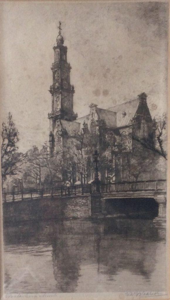 Kunst te koop bij Galerie Wijdemeren, Westerkerk Amsterdam ets, 26.5 x 15 cm rechtsonder handgesigneerd